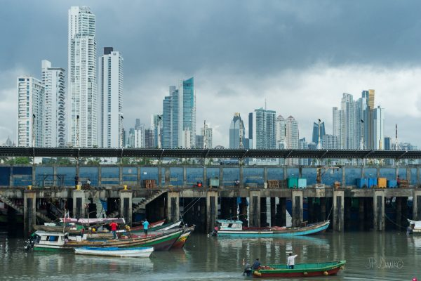 Fishing boats and city skyline of Panama City, Panama