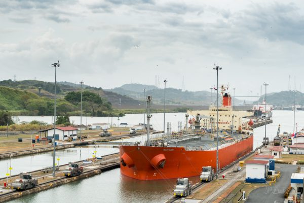 Shipping and locks at the Panama Canal.